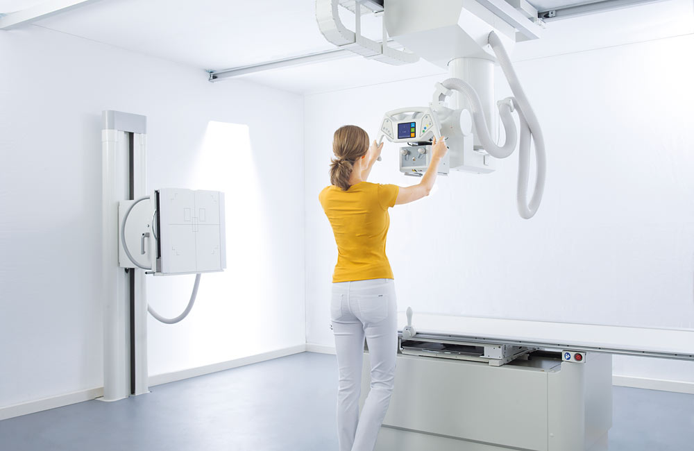 Ceiling Mounted X Ray System With Patient Positioning