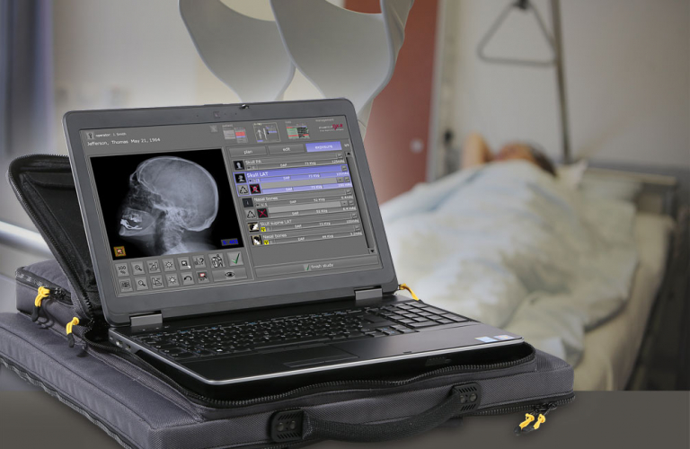 Acquisition software for X-ray images for portable X-ray solution and stationary X-ray machine