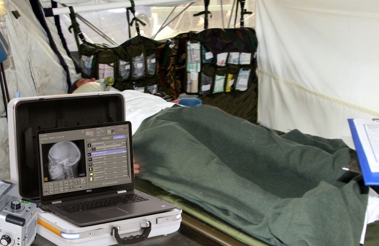 One of world's lightest portable X-ray systems for mobile use in medical emergencies